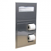 Bobrick Recessed Toilet Seat Cover Dispenser and Toilet Roll Holder